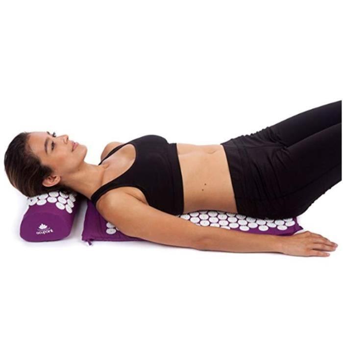 Kit d'Acupression Tapis Coussin de Massage pour Yoga Traitement des Douleurs Tensions Violet 68×42cm