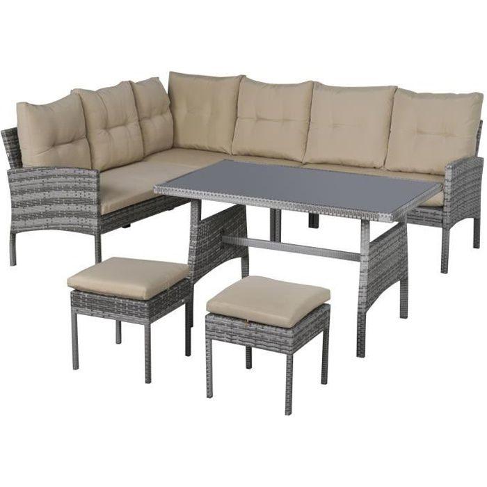 Salon de jardin 6 pers. confort canapé d'angle + 2 poufs + table à manger coussins assise & dossier fournis résine tressée grise
