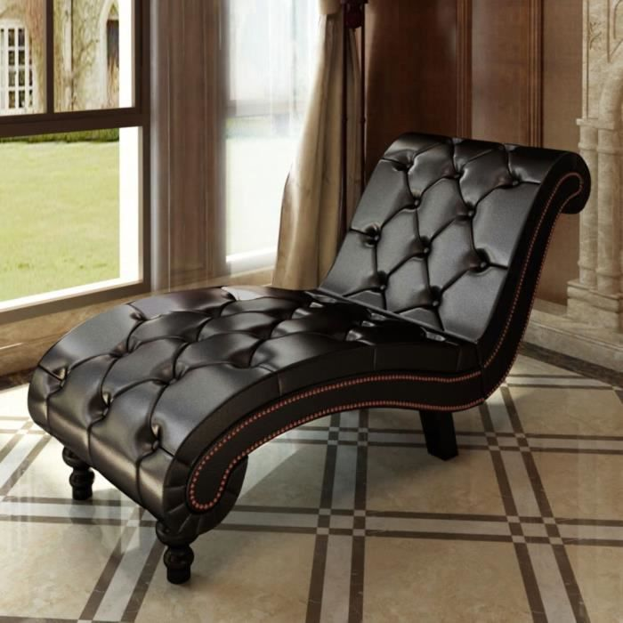 Haute qualité Magnifique Economique Chaise longue avec boutons Cuir synthétique Marron