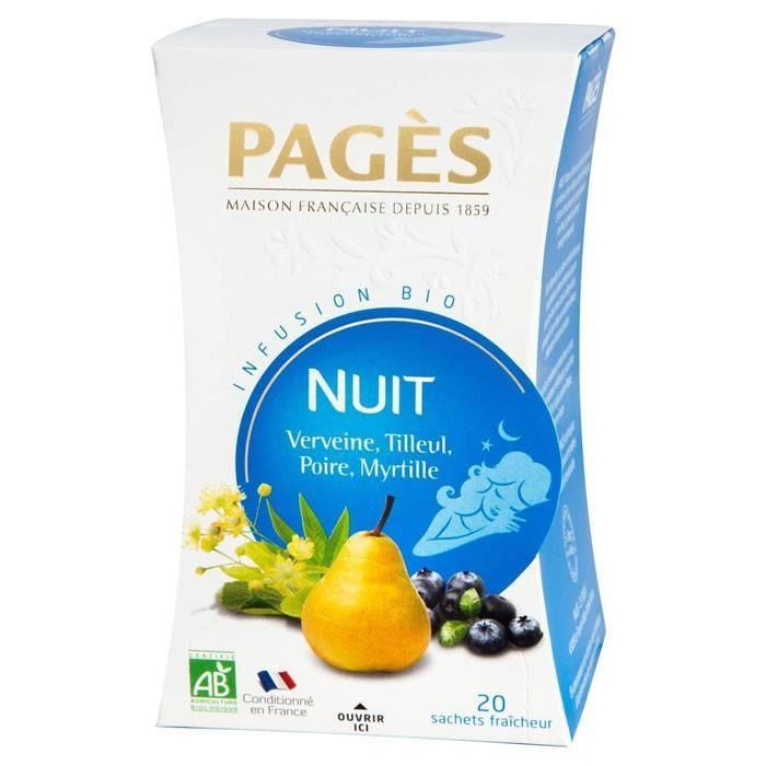LOT DE 4 - PAGES Infusion Bio Nuit Verveine Tilleul Poire Myrtille - 20 sachets