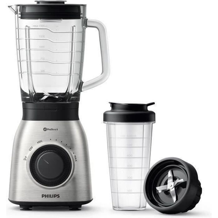PHILLIPS HR3556/00 Blender Viva Collection 900W - Bol en Verre 2 L - Inox + Gourde