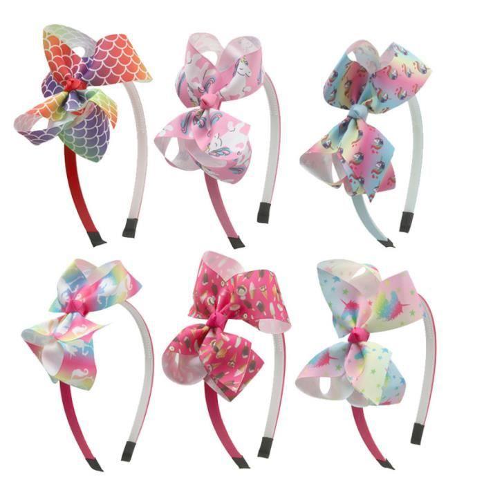 6 pcs licorne cerceau arc-noeud bande de tissu bandeau adorable accessoire de pour enfants filles (1 CASQUE AUDIO ENFANT