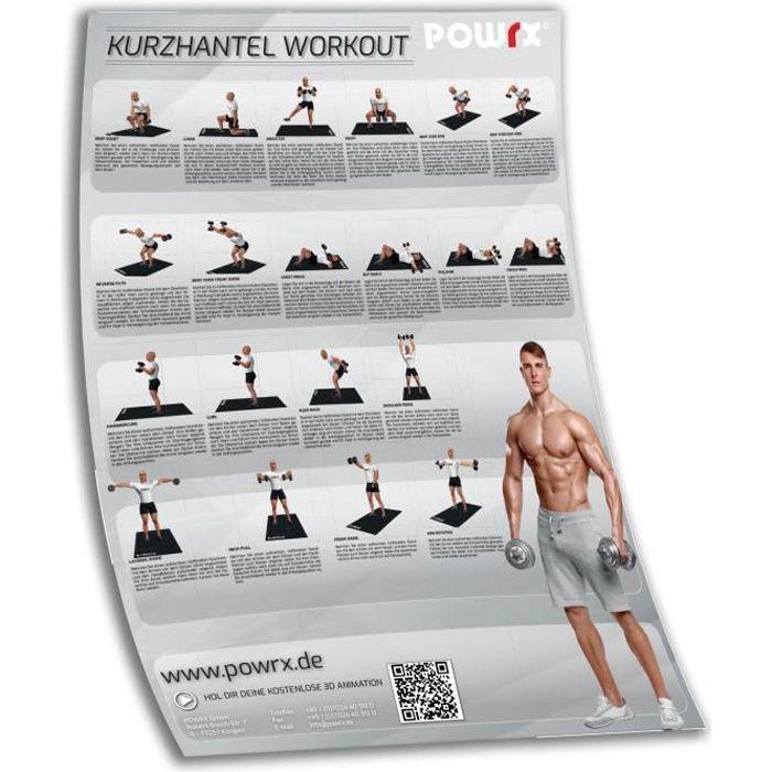Affiche de formation DIN A1 Affiche d'exercice Haltère avec les 20 meilleurs exercices d'haltère Couleur: Gris