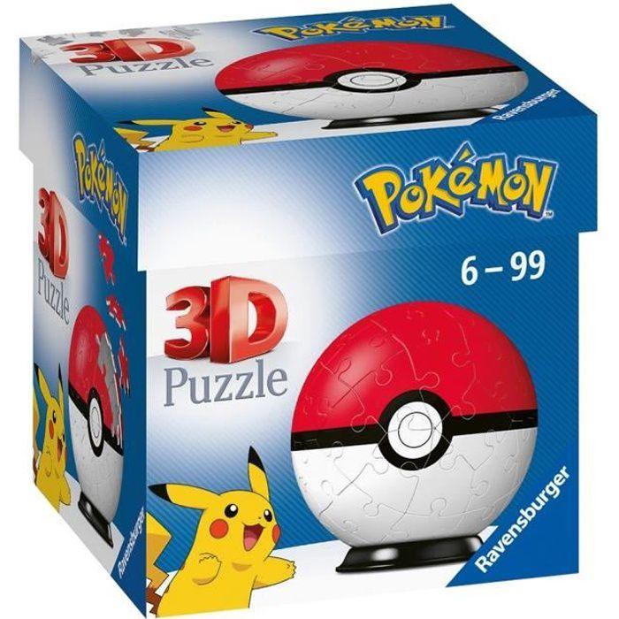 POKÉMON Puzzles 3D Ball 54 pièces - Poké Ball - Ravensburger - Puzzle enfant 3D sans colle - Dès 6 ans