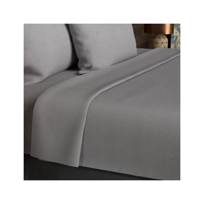 Drap plat coton 260x300 cm uni gris