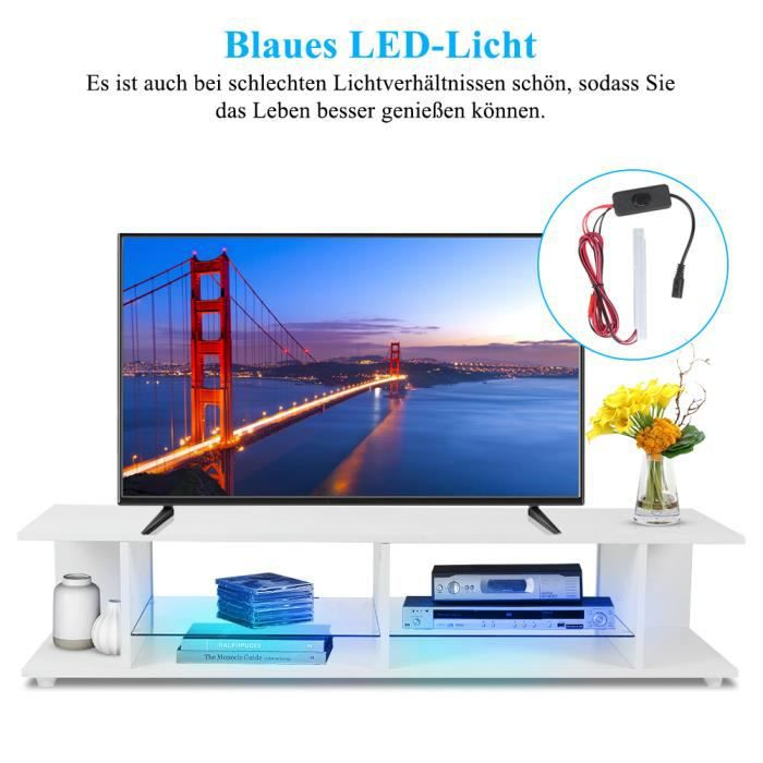 VGEBY® White TV Cabinet High‑Gloss Front TV Stand Table with Blue LED Light for Living Room(EU Plug 220V ) neuf