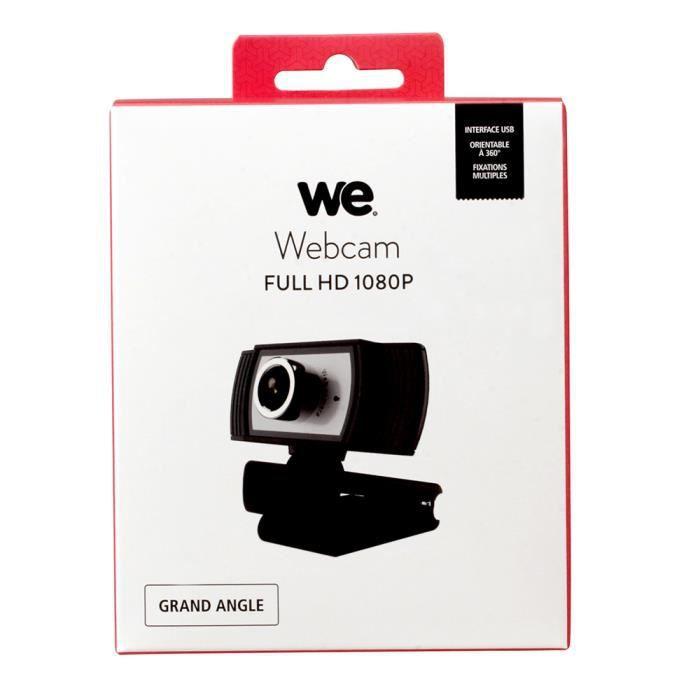 webcam WE full HD 1080P micro intégré, angle de vue 90° correction de l'éclairage auto longueur de câble 2m Noir