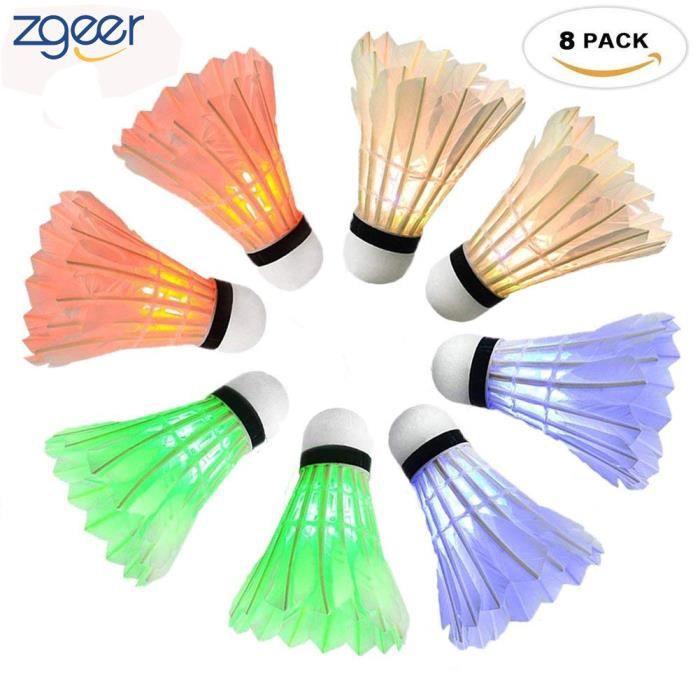 LED Volant de Badminton 8pcs, LED Badminton Birdies/Balle de Badminton Nuit Eclairage pour Sportives Intérieur et Extérieur