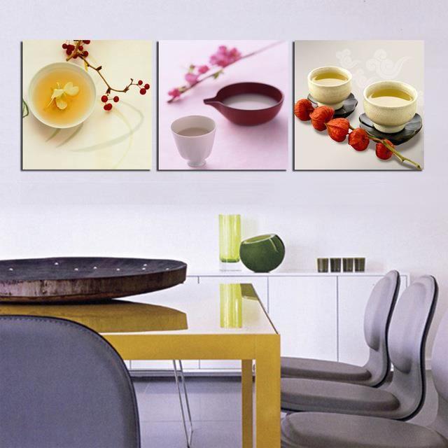 3 Panneaux Cuisine Decor Mural Toile Peintures Photos Murales Pour