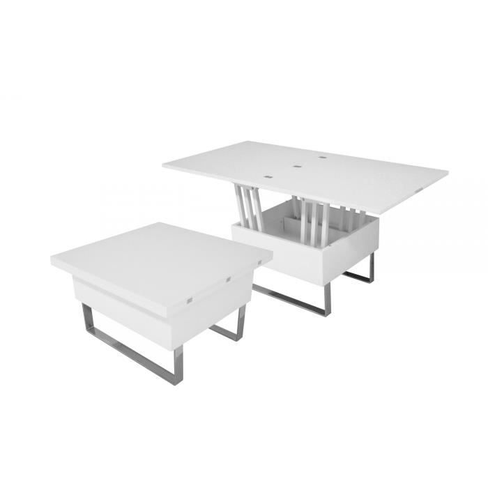 Table basse design laqu e blanche relevable extensible - Table relevable design ...