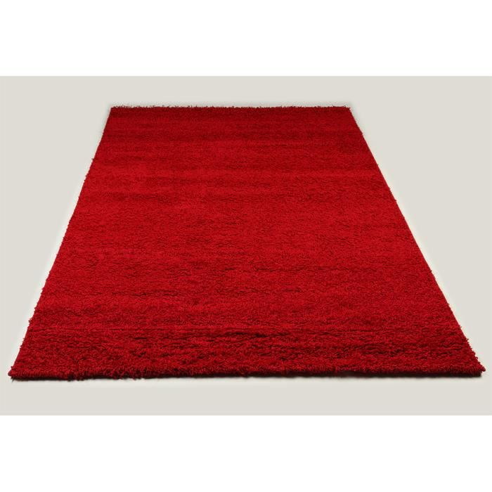 Tapis shaggy rouge de salon vasco 4 l 160 x p 230 cm - Tapis de salon rouge ...