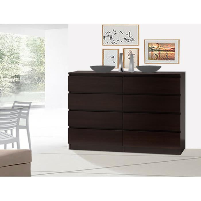 commode 120 cm d cor weng 8 tiroirs achat vente. Black Bedroom Furniture Sets. Home Design Ideas