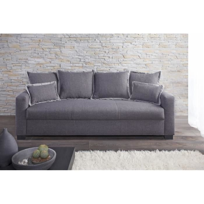 Canap fixe 3 places switsofa clara tissu gris achat for Divan 3 places elran