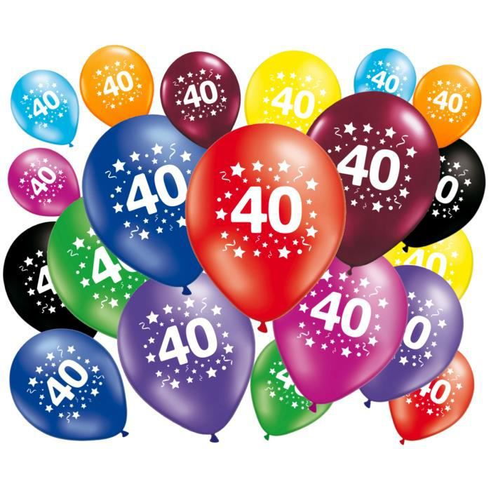 20 ballons anniversaire 40 ans achat vente ballon d coratif cdiscount. Black Bedroom Furniture Sets. Home Design Ideas