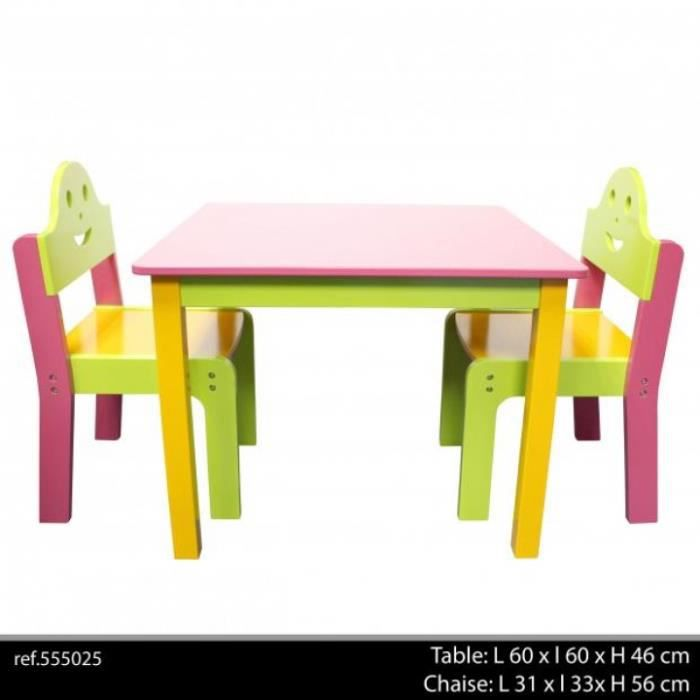 table 2 chaises mdf fille orange anis fushia table chaise enfants achat vente table et. Black Bedroom Furniture Sets. Home Design Ideas