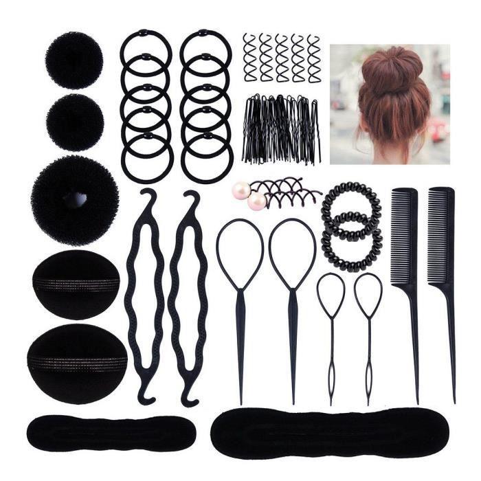 54 pcs Accessoire cheveux Chignon maker kit des outils coiffure