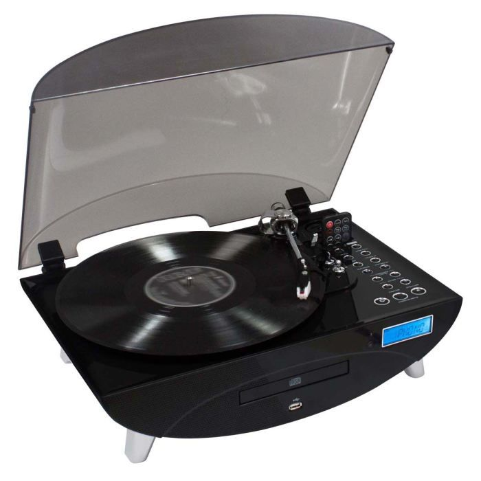tourne disques radio cd encodeur usb noir platine vinyle prix pas cher cdiscount. Black Bedroom Furniture Sets. Home Design Ideas