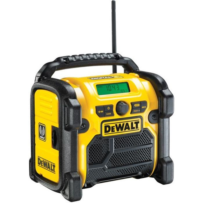 dewalt dcr020 radio de chantier dab batterie avec r seau radio cd cassette avis et prix pas. Black Bedroom Furniture Sets. Home Design Ideas