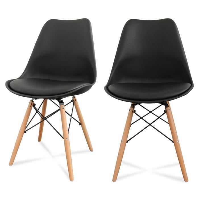 lot de 2 chaises design ormond dsw couleur noir achat. Black Bedroom Furniture Sets. Home Design Ideas
