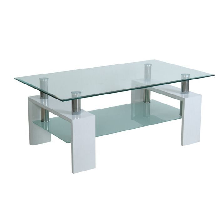 Table basse laqu blanc rectangulaire isabelle achat vente table basse - Table basse blanc laque cdiscount ...