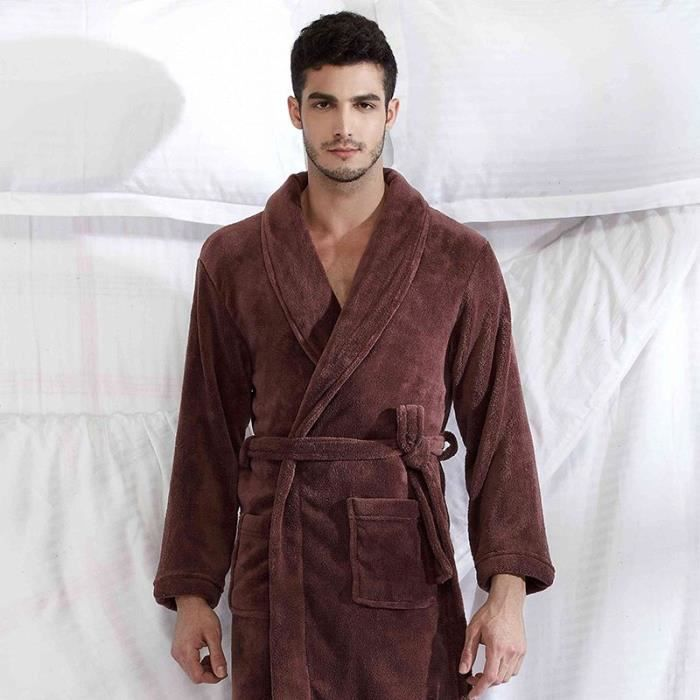 robe de chambre velours homme marron col ch le achat vente robe de chambre soldes d s. Black Bedroom Furniture Sets. Home Design Ideas