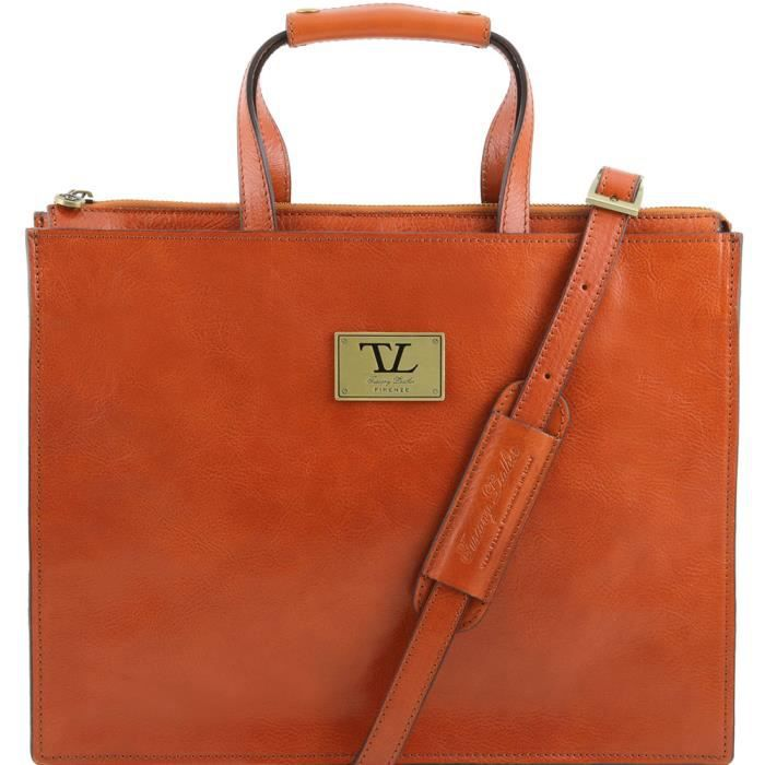 Tuscany Leather - Palermo - Serviette en cuir avec 3 compartiments - Miel - Homme