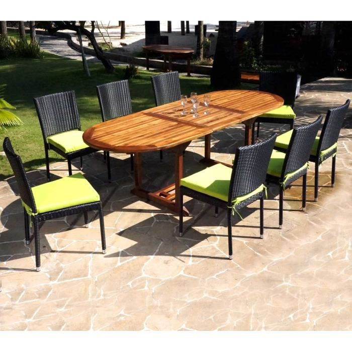 Ensemble de jardin table en teck et chaises en r sine for Ensemble table et chaise de jardin grosfillex
