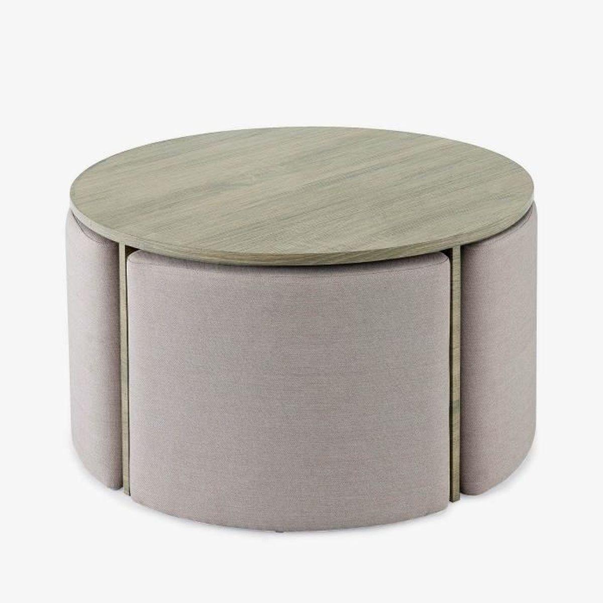 Table Basse Ronde En Bois Et 4 Poufs Bonnie Achat Vente Table Basse Table Basse Ronde En Bois E Cdiscount