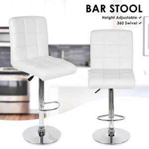 TABOURET DE BAR Lot de 2 tabourets de bar - Simili cuir BLANC - L