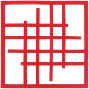 DESSOUS DE PLAT  Dessous Plat Silicone Carré Art déco 15cm - Rouge