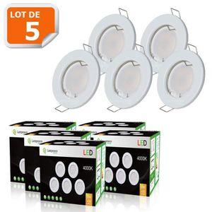SPOTS - LIGNE DE SPOTS LOT DE 5 SPOT LED ENCASTRABLE COMPLETE RONDE FIXE