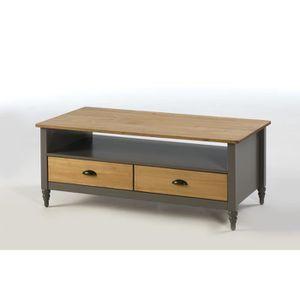 TABLE BASSE IRENE Table basse 2 tiroirs - Décor gris ciré - L