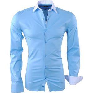 CASAMODA Chemise Bleu Clair Manches Courtes Modern Fit légèrement cintreé Button Down Col