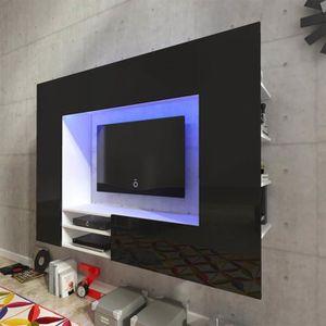 MEUBLE TV Unité murale de 169,2 cm meuble tv en noir brillan