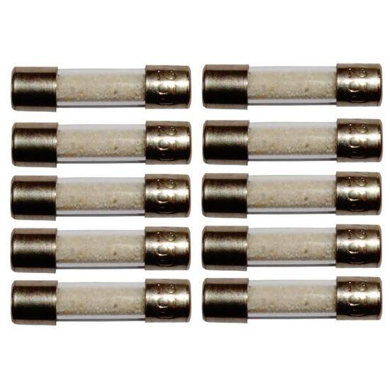 Aerzetix Lot de 10 fusibles semi-lents semi-retard/és semi-temporis/és en verre 2cm 20mm 5mm 5x20mm 220V 250V 6.3A