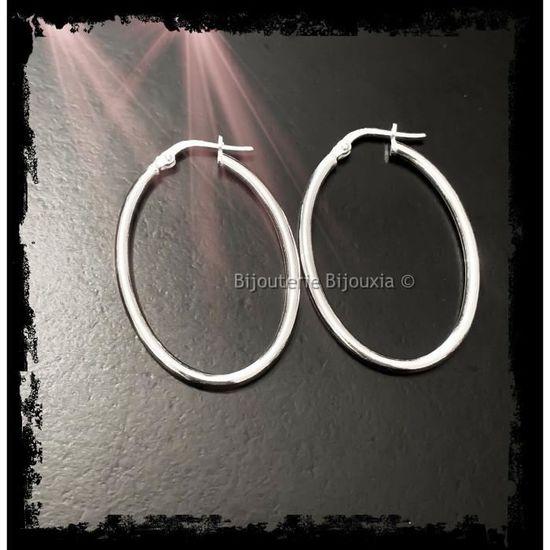 Boucles d/'Oreille Créoles Jonc Love 5 cm Argent Massif 925