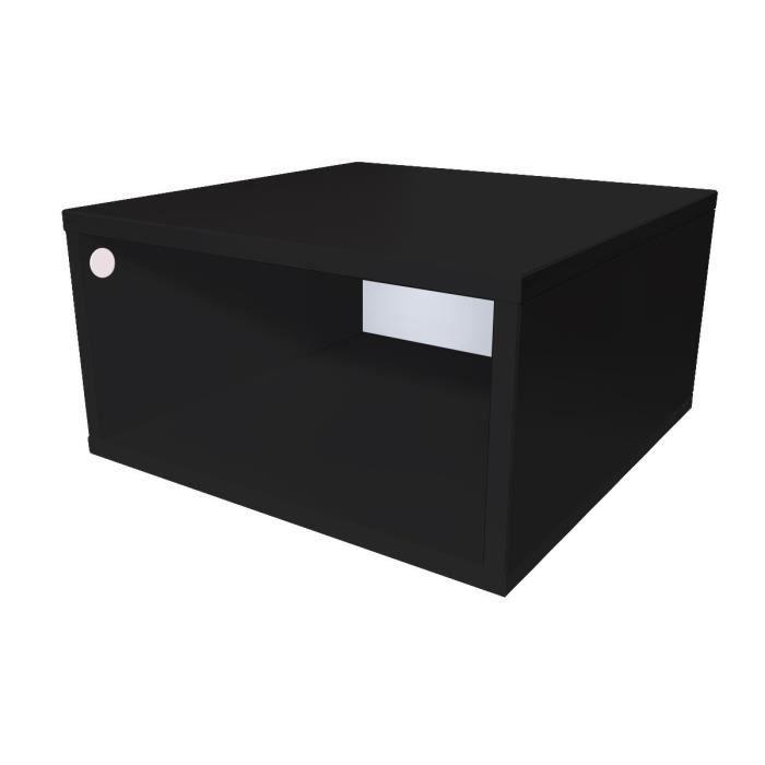 Cube de rangement bois largeur 50 cm - Couleur - Noir, Dimensions - 50x50