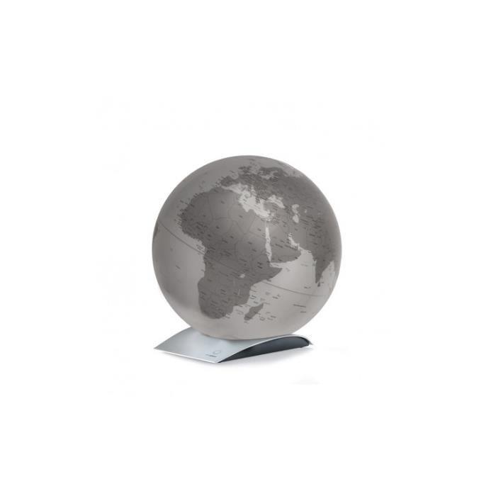 Globe terrestre à poser sur socle design Argent métallisé