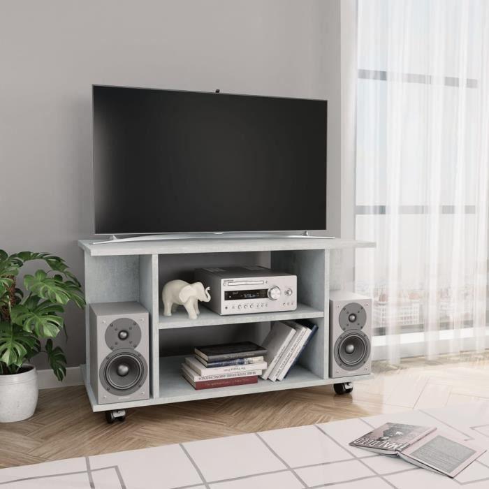 FIHERO Meuble TV avec roulettes Gris cement 80 x 40 x 40 cm Aggloméré