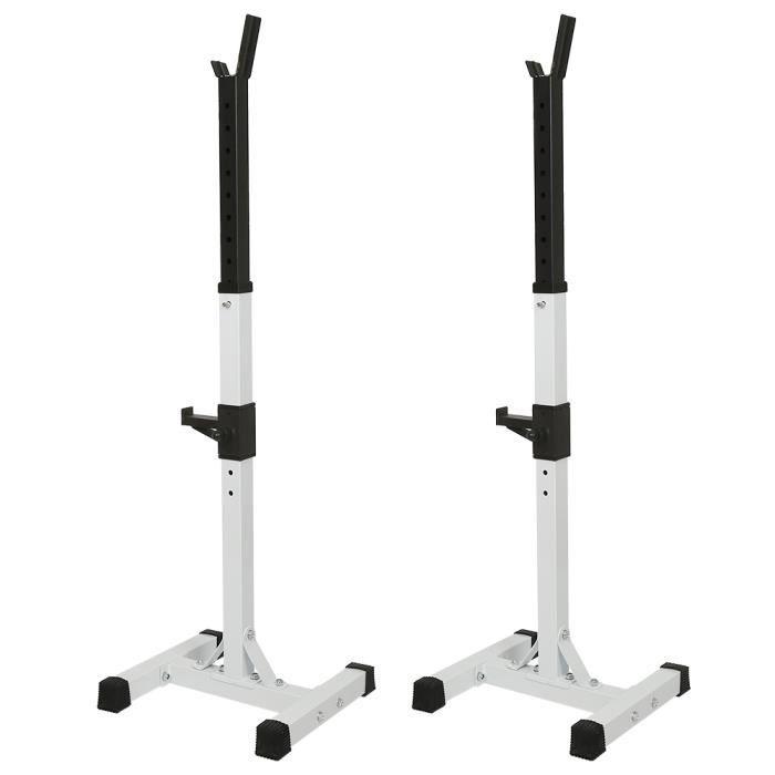Repose Haltère Hauteur Réglable Repose Barre Musculation Rack de Rangement Charge Max.150 kg Squat Rack Blanc