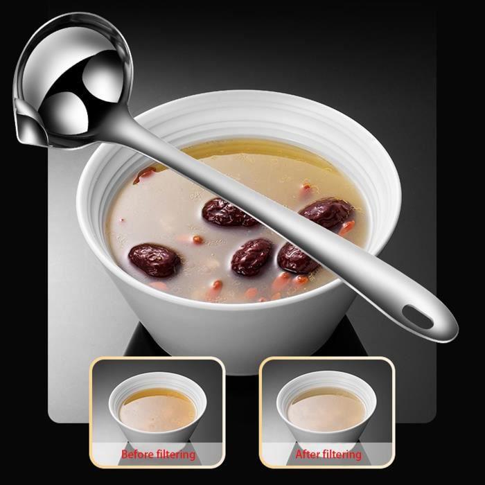 Siphon à graisse en acier inoxydable Soupe à l'huile Séparation Artefact Cuisine Skimmer Colande_x16807