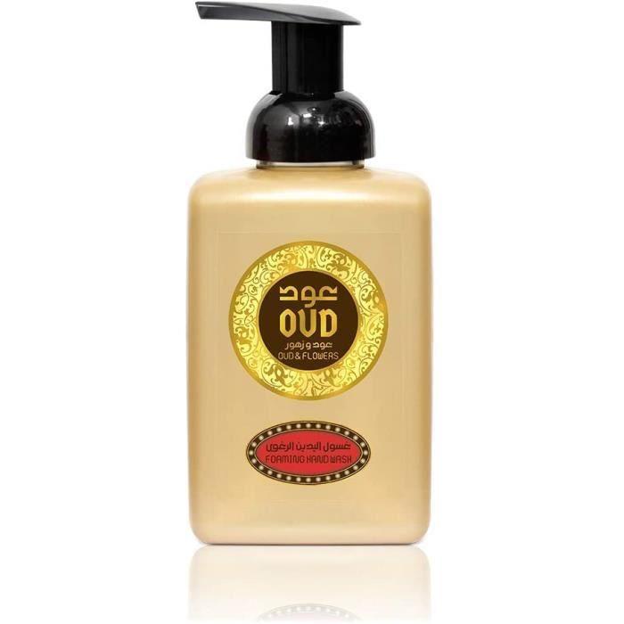Lot de 2 Savons Bains Moussant Pour Mains et Corps Fleurs Oud Parfumé Arabe Oriental 500ml Homme et Femme Notes: Bergamote, Freesia