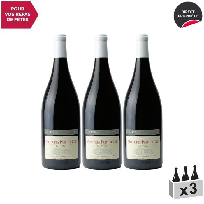 Mercurey 1er Cru Les Velley MAGNUM Rouge 2018 - Lot de 3x150cl - Château d'Etroyes - Vin AOC Rouge de Bourgogne - Cépage Pinot Noir