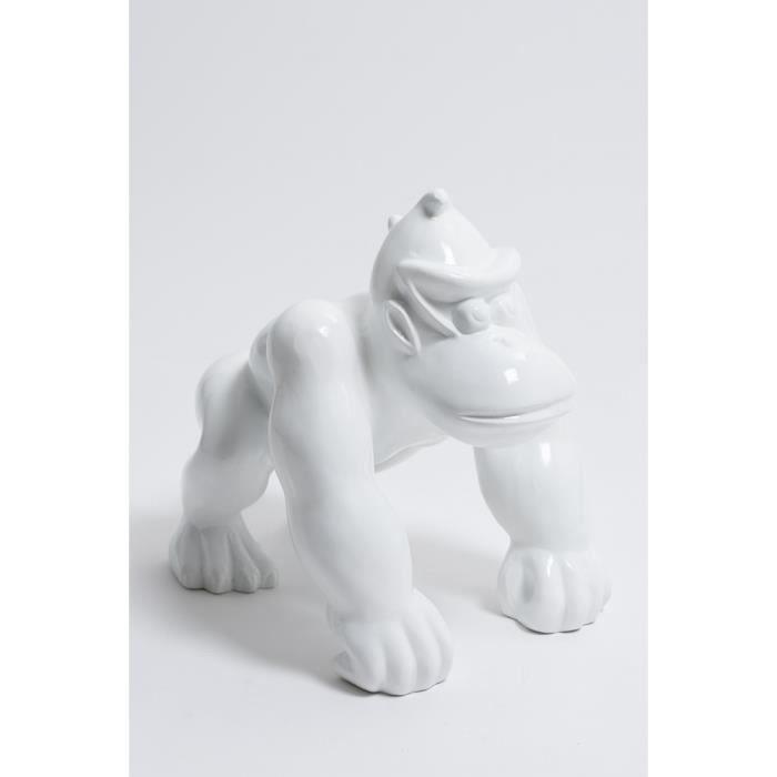 Statue singe gorille mini donkey kong taille S colori blanc - LIKASI - 36cm -