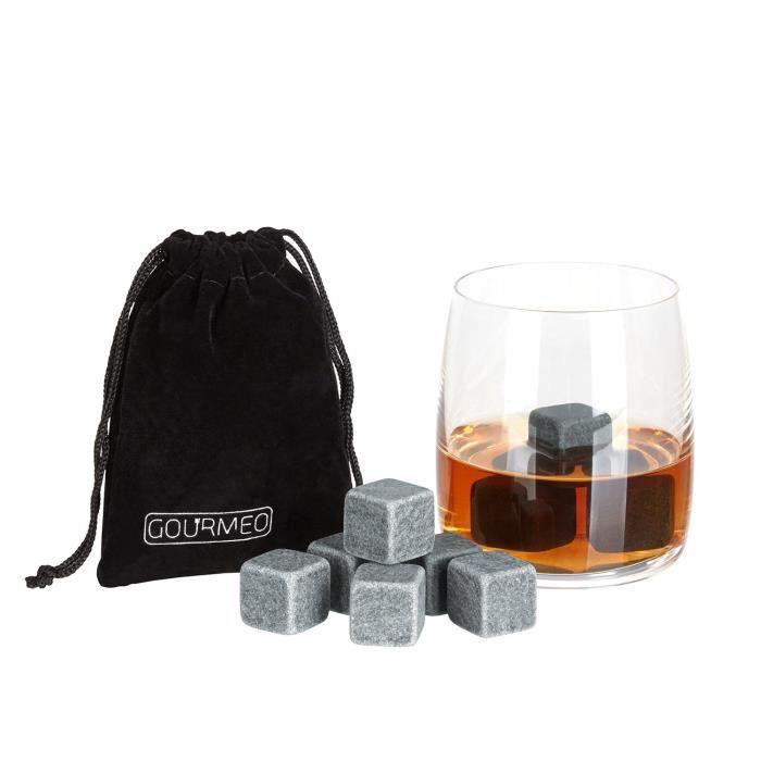 GOURMEO pierres à whisky premium (9 pièces) en stéatite naturelle I 2 ans de garantie de satisfaction I glaçons réutilisables,