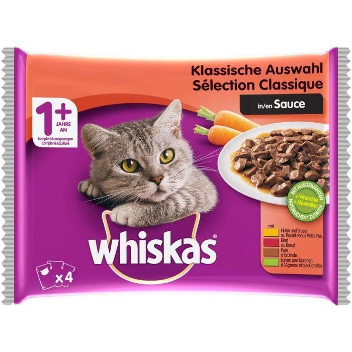 Nourriture pour chats Whiskas Sélection Classique en Sauce – Nourriture humide pour chat adulte – Alimentation complète 38574