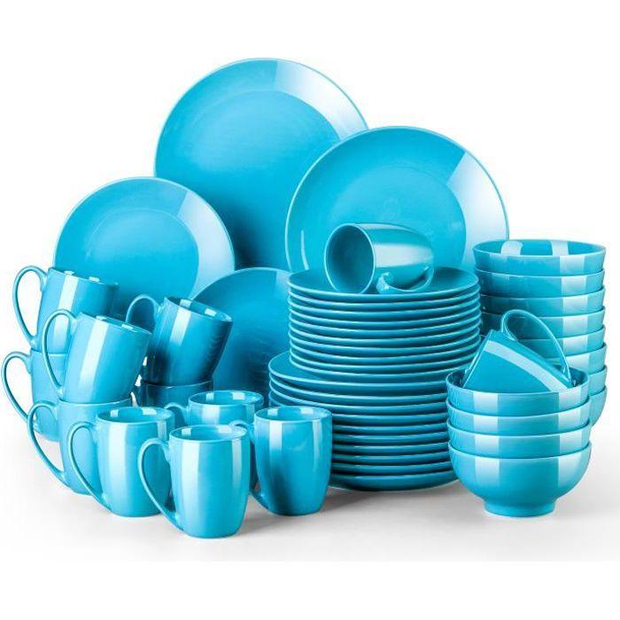 Service de Table en Porcelaine - Service Vaiselle Complet 48 Pièces pour 12 Personnes - Bleu - LOVECASA Série Sweet