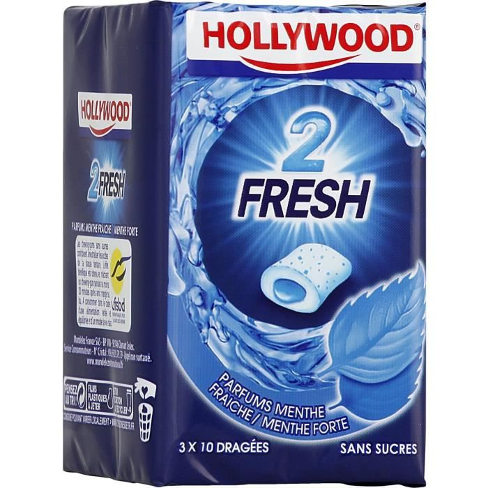 Hollywood 2Fresh chewing-gum menthe fraîche sans sucres 30 dragées