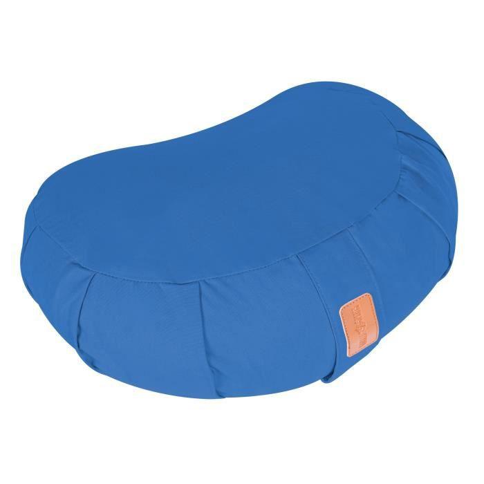Coussin de méditation demi-lune bleu - Hauteur d'assise : 19 cm - Coussin de yoga avec rembourrage en balles d'épeautre
