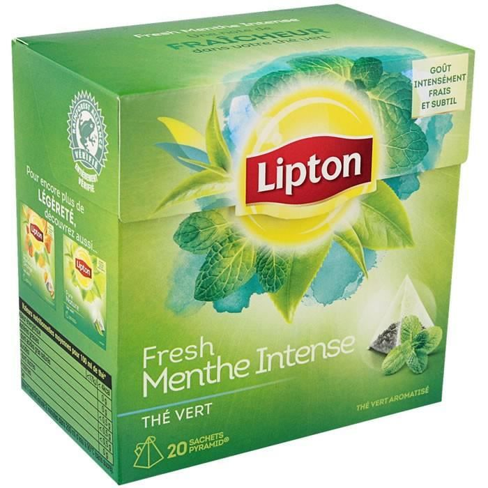 LOT DE 24 - LIPTON - Thé vert menthe intense 20 Sachets pyramides